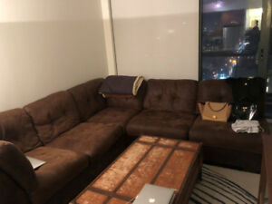 SECTIONAL COUCH - BROWN SUEDE