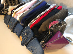 4 full rack of samples clothing in size XS with shose bags jacke