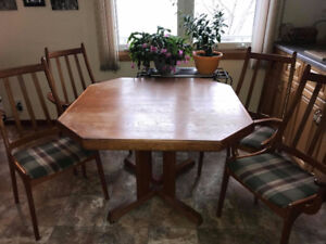 TEAK TABLE WITH 4-5 CHAIRS