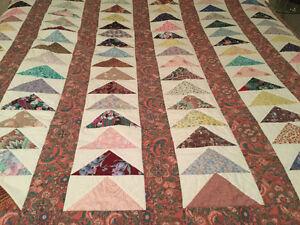"Handmade Reversible Quilt for Full/Double Bed - ""Flying Geese"" Windsor Region Ontario image 1"