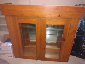 Glass shelving with backlight and mirror back Display Cabinet