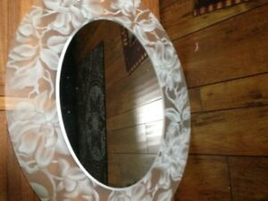 frosted oval mirror