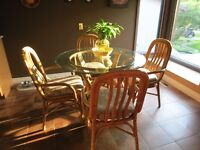 """Rattan 42"""" table and four chairs"""