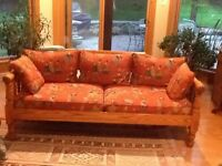 Antique repro oak country couch