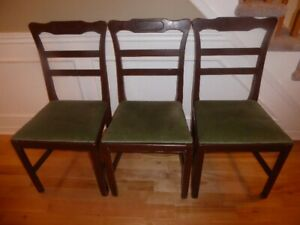 "3 – MID CENTURY  ANTIQUE  ""LADDERBACK"" DINING / KITCHEN CHAIRS"