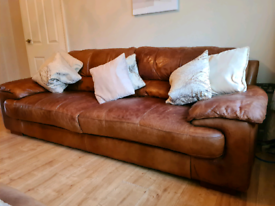 DFS. Leather sofa and Arm chair