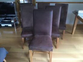 Six Leather Hide & Oak Dining Chairs