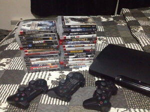 ps3, all cable, lots of games and 3 controllers