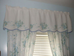 2 sets of drapes with quilted valence & double curtain rods