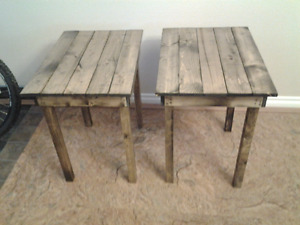 Refurbished barn wood tables $ 30 each or both for $ 50