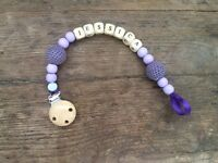 Handmade personalised dummy clips