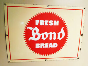 RARE PORCELAIN BOND BREAD ORIGINAL ADVERTISING SIGN