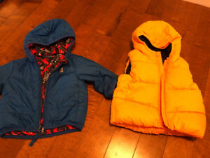 MEC fall/spring coat and Gap winter vest sizes 6-12 months
