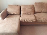 Suede corner sofa bed