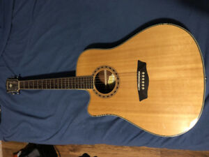 Left handed Acoustic guitar with build in tuner