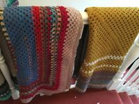 Hand crocheted wool throws and blankets