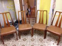 4 x Nathan dinning kitchen chairs retro vintage 1970 teak wood