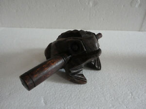 Decorative handmade wooden frog croacking musical instrument