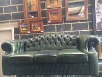 Green Leather Hump Back Chesterfield 3 Seater Sofa - UK Delivery
