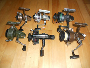6 Moulinets metal, Japon,France,25$ chaques, 6 fishing reels