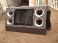 Lanzar car subwoofer amplifier (sub amp stereo active bass box)