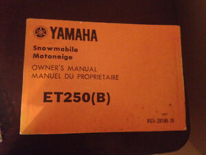 Owners manual Yamaha enticer 250 excellent cond.