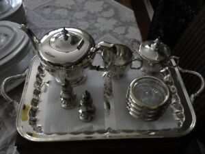 Silver Tea Service, Tray, 8 Knives, Forks, Spoons plus other