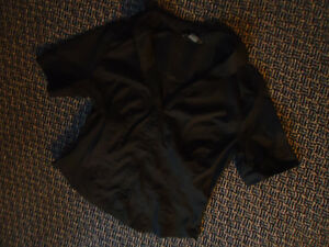 Ladies Size XL Short Sleeve Black Button up Blouse**Armani