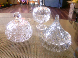 3 crystal cut decorative glass candy dishes. Excellent condition