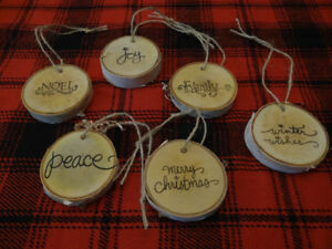 NEW Set of 6 Rustic Birch Slice Wood Christmas Ornaments