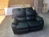 Harveys black belaire reclining 3+2 seater sofas set ex display