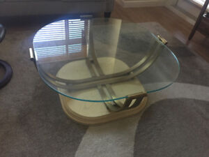 Coffee table glass and brass