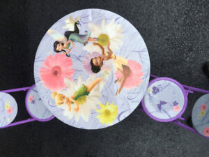 Kids table, metal frame with 2 chairs - Purple with Fairies