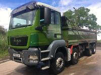 2009 59 MAN TGS 35.400 8x4 hub reduction Thompson steel bodied tipper, sheet