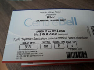 Billet de spectacle pour Pink. Centre Bell
