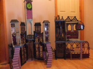 Three monster high houses & furniture