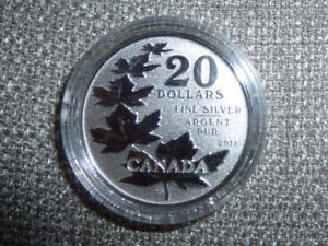 2011 CANADA $20 for $20 Maple leaves silver coin