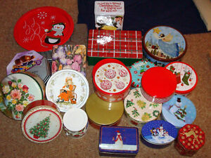 21 various cookie tins, and tray