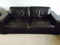 House of Fraser Natuzzi chocolate brown leather 3 + 2 couches