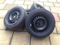 """Vw T5 Transporter 16"""" Steel Wheels & Continental Tyres 215/65/r16c (NEW)"""
