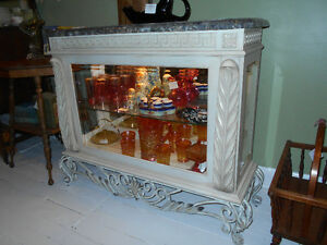 STUNNING MARBLE TOP CREDENZA SHOWCASE