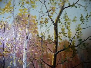 "Muskoka Oil Painting by Erkki Jalava ""Tranquil Fall Study"" 1950 Stratford Kitchener Area image 8"