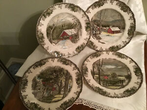 "Johnson Brothers Friendly Village 10 1/2"" Chop Plates 4 Scenes"