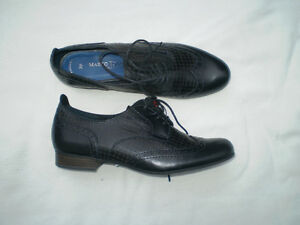 NIB Marco Tozzi Black Antic Leather Shoes Size 39