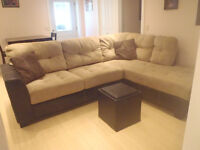 Beige Microsuede Sectional $600 OBO **MUST SELL ASAP**