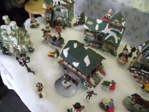xmas village  with all the the houses that lite up,,,and figures