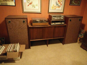 Record Player, Cabinet, Records