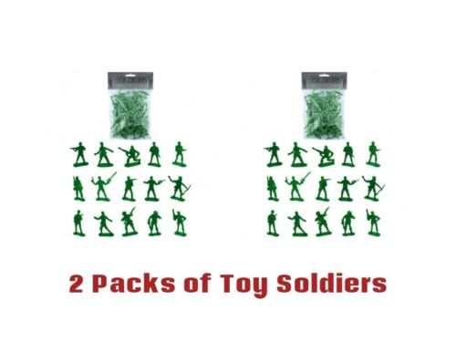 2x+Packs+of+Plastic+Soldiers+Toys++Army+Kids+Children+Pretend+Play+War+Games