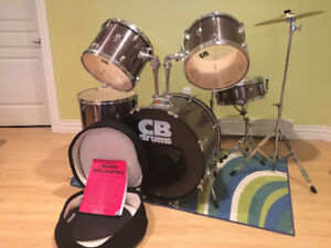 CB DRUMS 5pc setwith high hat and cymbals , chair, book and case