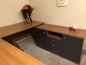 Office/Library  furniture - 8 matching pieces - tan& Steel.Grey